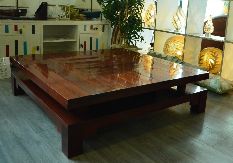 Table basse carré de salon en bois massif